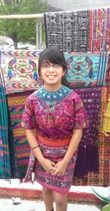Emilee in traditional Mayan dress.