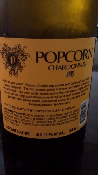 Popcorn back label